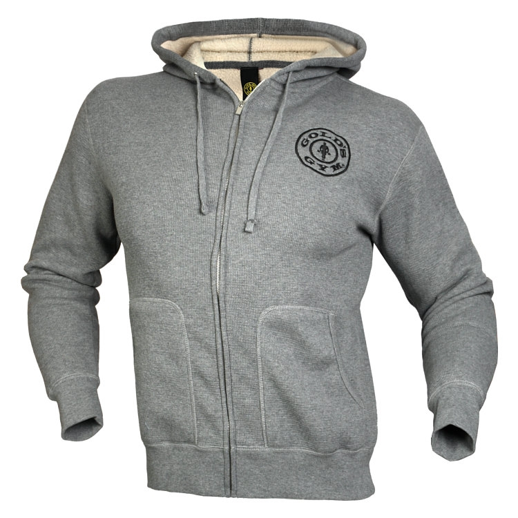 6a76cf02a5e Gold s Gym Mikina Šedá Thermal Zip Hoodie