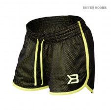 – Better Bodies Dámské Kraťasy Race Mesh Shorts Black/Lime